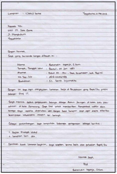 Contoh Surat Lamaran Kerja Lulusan Smk Tulis Tangan